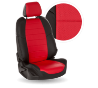 Чехлы из экокожи для Mitsubishi Lanser 10 цвет чёрный-красный