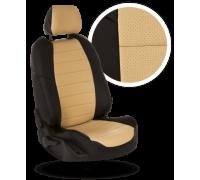 Чехлы из экокожи для Mazda Demio цвет чёрный-бежевый