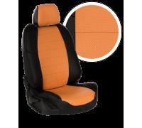 Чехлы из экокожи для Mazda 626 цвет чёрно-оранжевый