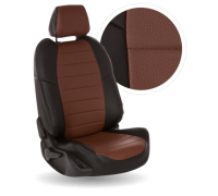 Чехлы из экокожи для Mazda 626 цвет чёрно-коричневый