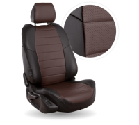 Чехлы из экокожи для Mazda Demio цвет чёрный-шоколад