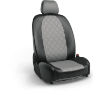 Авточехлы для Geely Tugella в дизайне ромб чёрный-серый