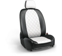 Авточехлы для Geely Tugella в дизайне ромб чёрно-белый