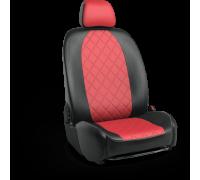 Авточехлы для Mazda CX-5 в дизайне ромб чёрно-красный