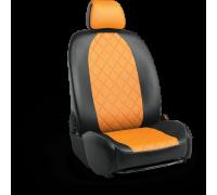 Авточехлы для Mazda CX-5 в дизайне ромб чёрно-оранжевый