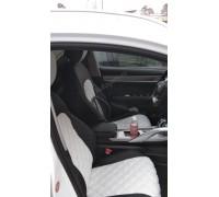 Авточехлы для Geely Coolray в дизайне ромб чёрно-белый