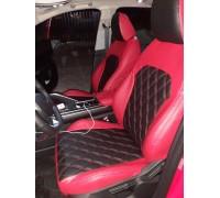 Авточехлы для Geely Coolray в дизайне ромб чёрно-красный